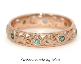Teal Sapphire Wedding Band, Leaf Vine Pattern Eternity Wedding Ring, Boho Filigree Scroll Diamond Band