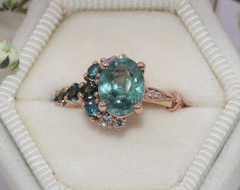 Sea Foam Teal Green Sapphire Unique Engagement Ring, Setting Only, One of a kind Cluster Engagement ring, Vintage Inspired Asymmetric Ring