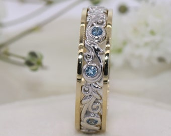 Scroll Vintage Pattern Wedding Ring, Leaf Filigree Wedding Eternity Band, Aquamarine Band, Mixed Gold Wedding Ring, Filigree Pattern Ring