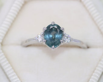 CUSTOM MADE 3 Stone Montana Sapphire Engagement Ring, Teal Blue Sapphire Ring, Peacock Sapphire Three Stone Ring by Irina