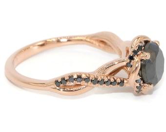 Black diamond rose gold engagement ring, Bohemian promise Ring, Dainty infinity wedding ring
