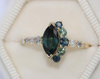 Blue Green Marquise Sapphire Ring, Cluster One Of A Kind Engagement Ring, Parti Green Sapphire Ring, Mermaid Sapphire ring, Half Moon Ring