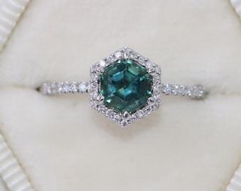 Teal Hexagon Sapphire Ring, Blue Green Montana Sapphire Ring, Mermaid Hexagon Engagement Sapphire Ring, 1 carat Montana Sapphire Ring