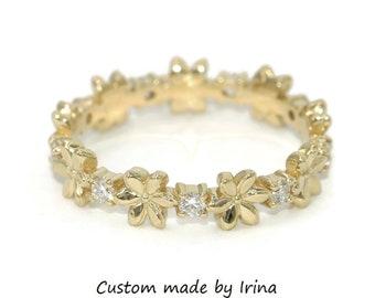 Cherry blossom eternity ring, Flower diamond wedding ring, Boho Engagement Band, Daisy flower engagement ring, organic nature inspired ring