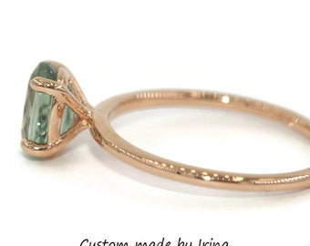 Custom Made Unheated Natural Montana Ring, SETTING ONLY, 14k Gold Teal Blue Green Mermaid Sapphire Ring, Montana Sapphire Engagement Ring