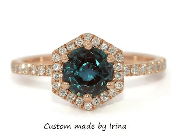 Hexagon Lab Created Alexandrite Engagement Ring