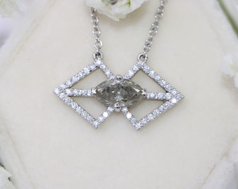 Sale Geometric Gray Diamond Dainty Necklace, Boho Rustic Grey Diamond Bohemian Delicate Pendant, Kite Pendant Ready To Ship