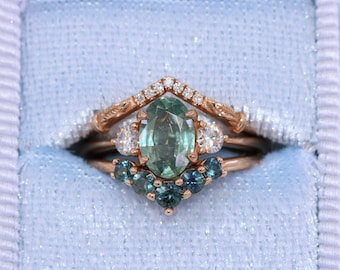 3 Stone Montana Sapphire Engagement Ring, 1.31 carat Oval Teal Blue Green Sapphire Ring, Size 6, Ready To Ship