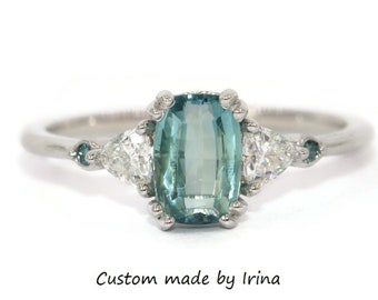 Custom Made Teal Blue Green Montana Sapphire Engagement Ring, 3 Stone Ring, Five Stone Trillion Moissanite Ring