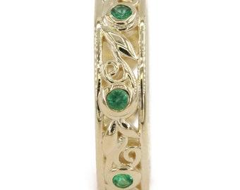 Rustic Organic Leaf Vine Filigree Emerald Wedding Eternity Ring, Nature inspired scroll filigree wedding band+Woodland Wedding Eternity Band