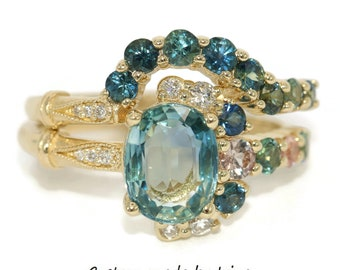 Teal Blue Green Sapphire Unique Engagement Ring, One of a kind Cluster ring, vintage style Asymmetric Ring, Ombre colorful sapphire rings