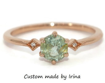 Custom Made Teal Montana Sapphire Ring, Edwardian Style Teal Green Sapphire Ring, 14k Rose Gold Diamond Ring