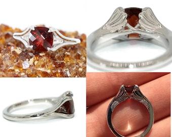 Angel Wings Ring, Custom Made Topaz ring, Garnet anniversary gift, delicate promise ring, angel wings engagement ring, Angel Wing Ring