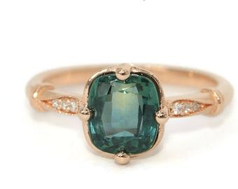 Custom Montana Sapphire Engagement Ring, Edwardian Style Unheated Montana Sapphire Ring, SETTING ONLY, Teal Blue Green Sapphire Ring
