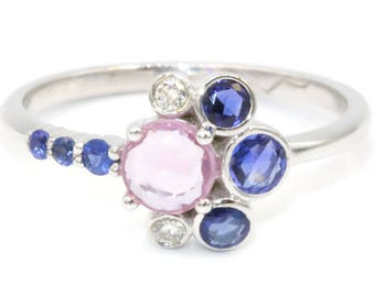 Celestial Moon Shape Pink Blue Sapphire Cluster Engagement by Irina