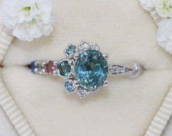Teal Sapphire Engagement Ring, Crescent Unique Engagement Ring, Vintage Inspired One of a kind Cluster Ring, Unheated Montana Sapphire Ring