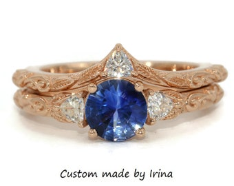 3 Stone Sapphire Ring Set, Scroll Pattern Engagement Rings, Vine Leaves Pattern Rings, 1 carat Sapphire Wedding Rings Set, Three Stone Rings
