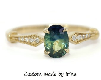 Bi-Color Parti Sapphire Engagement Ring, Blue Green Sapphire Ring, 14k Yellow Gold Vintage Edwardian Inspired Ring