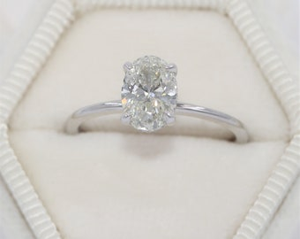 Certified Oval Natural Diamond Solitaire Ring, GIA Appraised Engagement Diamond Ring