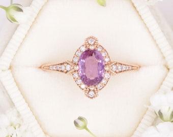 Edwardian Engagement Ring, 1 Carat Oval Pink Sapphire Engagement Ring, Vintage Inspired Pink Sapphire Rose Gold