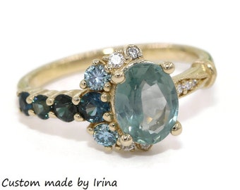 Sea Foam Unheated Montana Sapphire Ring, Teal Green Sapphire Engagement Ring, Vintage One of a kind Cluster Ring, Half-Moon Crescent Ring