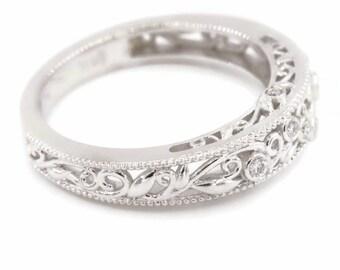 Rustic Organic Leaf Edwardian Scroll-work Filigree Wedding Ring by Irina