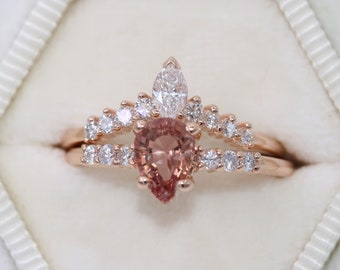 1 carat Peach Pink Sapphire Engagement Rings Set, Pear Sapphire Engagement ring and Wedding band, Custom Made Pear Engagement Rings Set