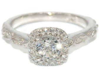 White Sapphire engagement ring set, alternative engagement ring, leaf filigree wedding ring set, dainty thin gold rustic wedding rings