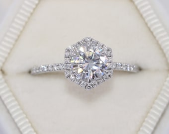 Hexagon Diamond Engagement Ring, 1 carat Forever One Moissanite Ring