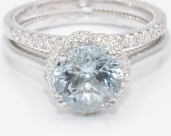 Aquamarine engagement ring, infinity halo diamond wedding ring, alternative engagement ring, bohemian aqua wedding ring set, aquamarine ring
