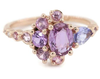 Oval Pink Sapphire Cluster Engagement Ring, 1 carat Pink Sapphire Ring, Unique Ombre Sapphire Ring, Celestial Half-Moon Crescent Ring