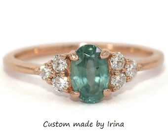 Oval Teal Blue Montana Sapphire Ring, 1.13 carat Oval Teal Green Sapphire Ring, 14k Rose Gold Diamond Ring