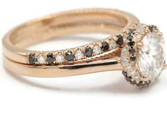 Rose Gold Moissanite Engagement Ring Set With Alternating Black and White Diamond Braid Halo