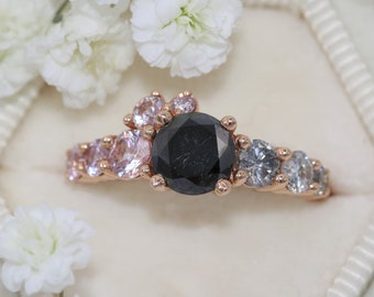 Black Diamond Cluster Engagement Ring, One of a Kind Ring, Rose Gold Gray Diamond Ring, Ombre Cluster Grey Diamond Ring, sz 7, Ready To Ship