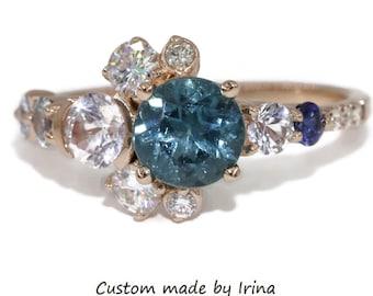 Indicolite Tourmaline Cluster Engagement Ring by Irina