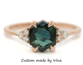 Hexagon Blue Green Sapphire Ring, Custom Made Parti Sapphire Ring