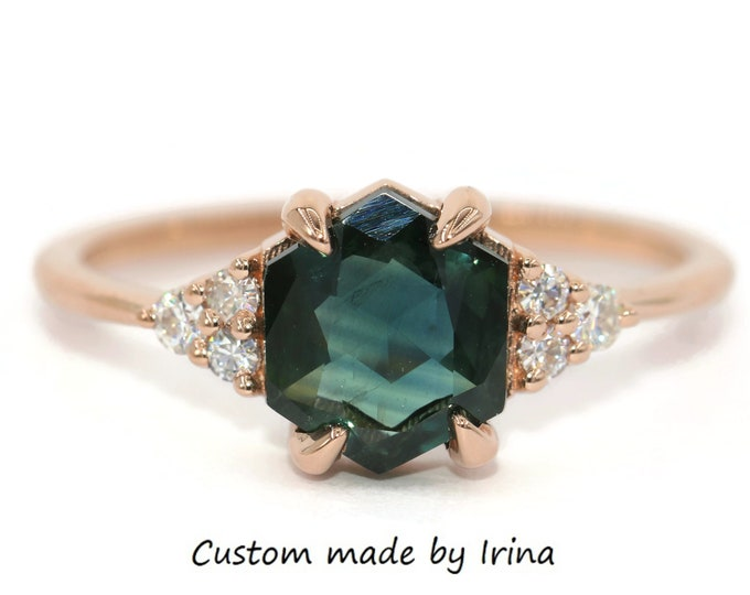 Featured listing image: Hexagon Blue Green Sapphire Ring, Custom Made Parti Sapphire Ring