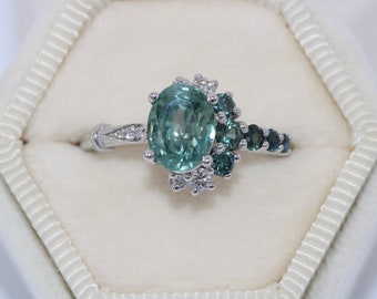 Unheated Montana Sapphire Ring, Teal Sapphire Engagement Ring, Setting ONLY, One of a kind Cluster Ring, Crescent Unique Engagement Ring