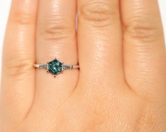 Hexagon Sapphire Ring, 1 ct Montana Sapphire Ring, Custom Three Stone Baguette Ring, Hexagon Teal Sapphire 3 stone Ring Engagement Ring