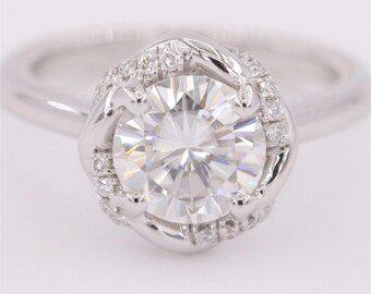 Moissanite White Gold Twist Halo Engagement Ring by Irina