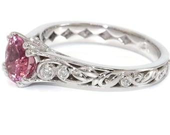 Scroll Filigree Pink Tourmaline Engagement Ring, Vintage Style Lacework White Gold Rustic Nature Inspired Diamond, Custom Alternative Ring