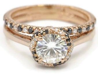 Moissanite engagement ring set, black diamond ring, moissanite Rose gold rings, boho wedding ring set, twisted infinity ring, bohemian ring