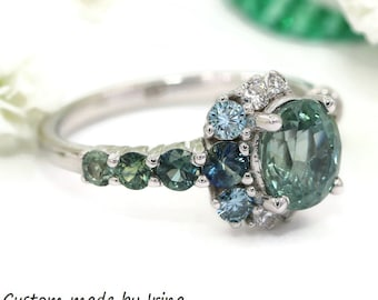 Unheated Montana Sapphire Ring, Teal Sapphire Engagement Ring, Vintage Inspired One of a kind Cluster Ring, Crescent Unique Engagement Ring