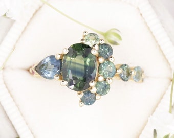 One Of A Kind Cluster Blue Green Oval Sapphire Engagement Ring with Pear Indicolite Tourmaline