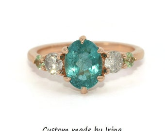 Teal Tourmaline Ring, Ready to Ship 5 Stone Engagement Ring, Salt and Pepper Diamond Ring, Five Stone Diamond Ring