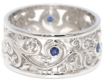 Scroll Filigree Pattern Wedding Band, Rustic Leaf Ring, Blue Sapphire Eternity Band, Lace Pattern Ring, Boho Wedding Eternity Ring