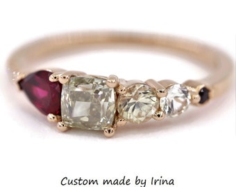 Rubellite Tourmaline and Gray Diamond Rose Gold Cluster Ring by Irina