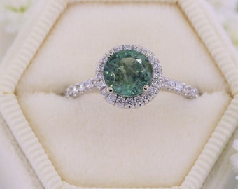Setting ONLY, Custom Made Montana Sapphire Engagement Ring, Teal Blue Green Unheated Montana Sapphire Ring, Diamond Halo Peacock Ring