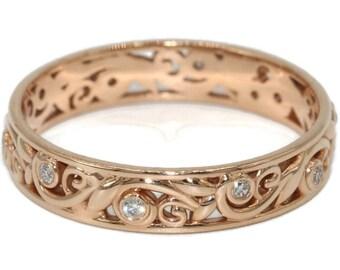 Leaf Eternity Wedding Ring, Vine Leaf Pattern Whimsical Wedding Band, Boho Filigree Scroll Diamond Band