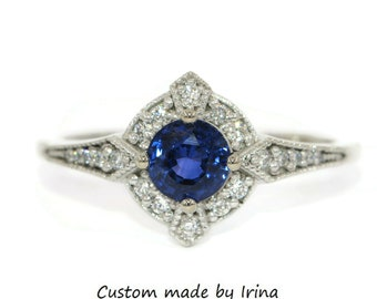 Royal Blue Natural Sapphire Engagement Ring, Vintage Style Sapphire Diamond Ring, Edwardian Style Engagement Ring